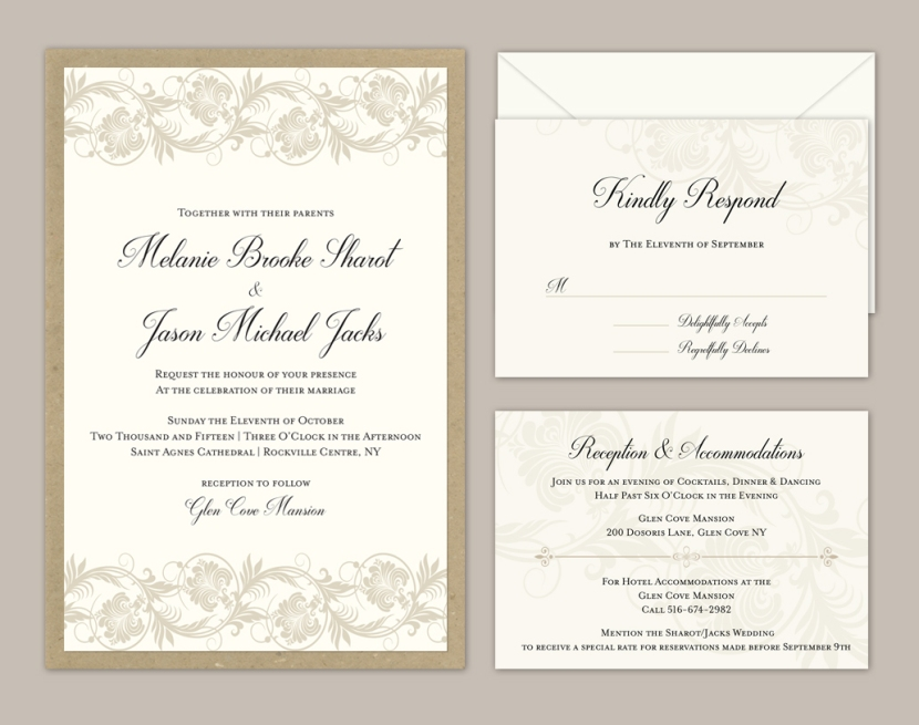 melanie & jason weding invitations.